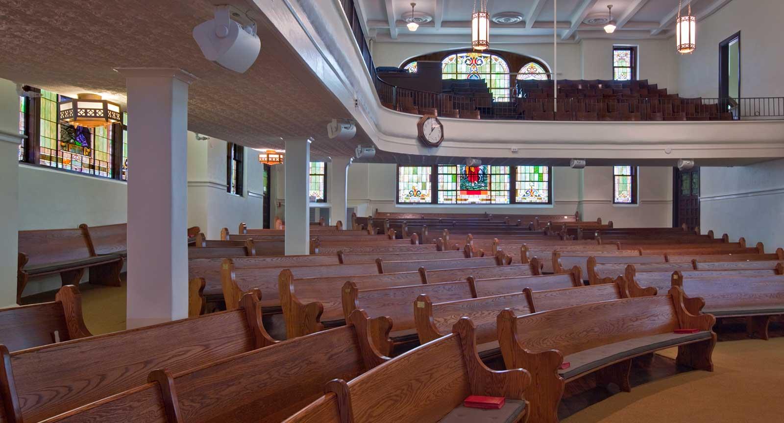 Dallas Arts District St. Paul United Methodist Interior Pews